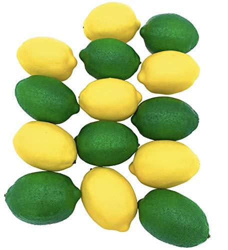 Dasksha lebensechte künstliche Zitronen und Limetten, 14 Stück, groß, 7 künstliche Limetten und 7 künstliche Zitronen, realistische künstliche Früchte zur Dekoration (Künstliche Limetten Und Zitronen)