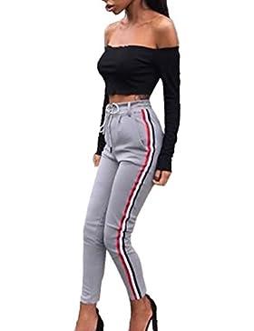 Verano Striped Splicing Yoga Pantalón Sweatpants de Deportiva Jogging Casual Ajustable Cinturón Ocasional Long...