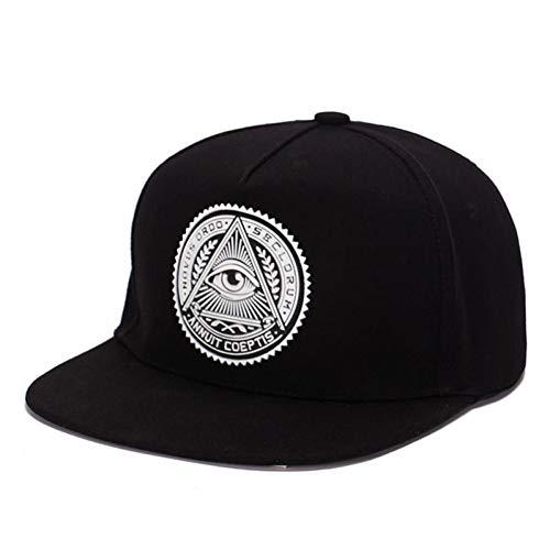 RCFRGV Baseball Cap Cotton 3DEyes Plastic Patch Mens Flat Brim Baseball Cap Hip Hop Hat and Cap (Flat Eye Patch)