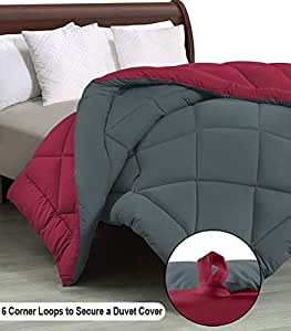 """Cloth Fusion Pacifier 2nd Generation 200GSM Microfiber Reversible AC Comforter for Single Bed - (60""""x90"""") Inches, Grey & Maroon"""