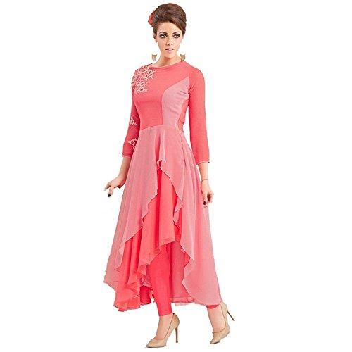 Navabi Export Women's Rayon Dress Material(99019Kurti_Pink_Free Size)