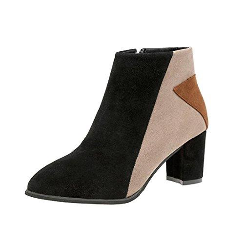 Longra Donna Scrub punta a punta color block cuciture spesse e sottili scarpe nude con tacco Stivaletti Martin Boots Beige_A