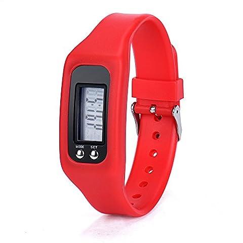 Culater® Numérique Podomètre LCD Étape Courir Distance de marche Calorie Counter Montre Bracelet (rouge)