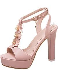 d67d05fcdee1b6 Damen T-Spange Sandalen Blockabsatz Plateau High Heels Sandaletten mit  Riemchen Peeptoe Hochzeit Schuhe Aiyoumei