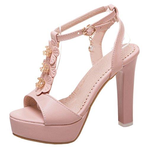AIYOUMEI Damen Knöchelriemchen T-Spangen Sandalen mit Blumen Blockabsatz Plateau High Heels Schuhe Rosa
