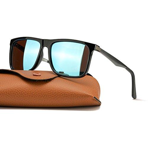 Sonnenbrille Herren - Polarisierte, Verspiegelt Metall Rahme 100% UV Schutz Fahren (Schwarz/Blau(verspiegel))