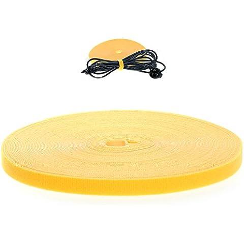 HIMRY morbido Fascetta per cavi Velcro, 10 m x 20 mm, riutilizzabile. nylon Velcro-Tape, Ordinato Rotolo del Velcro Strip, gestione dei cavi, Giallo, KXB5016