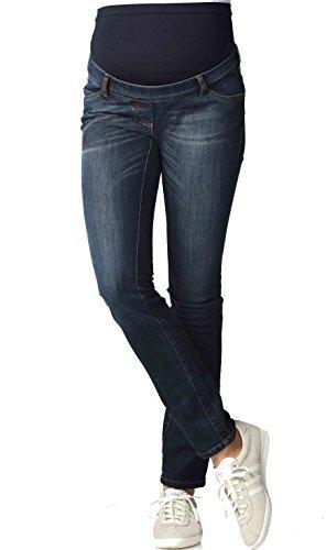 Christoff Damen Schwangerschaftsjeans Umstandshose Basic Five-Pocket-Jeans Röhre - elastisch slim fit - 102/91/8 - blau - W40/L34 (Designer-jeans Italienische)