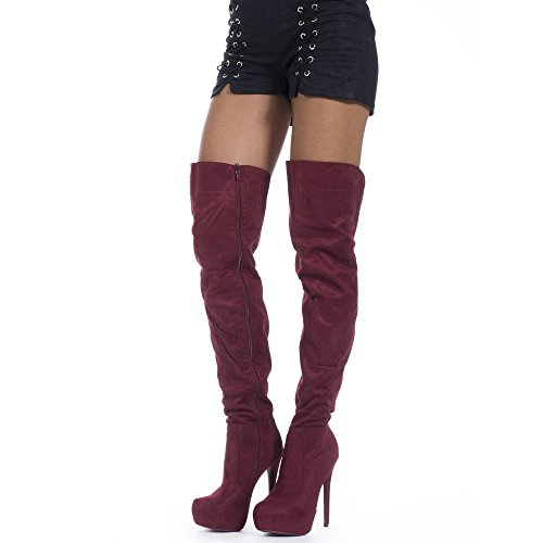 Noir Cuissardes effet Shoes Ideal à Elena plateforme daim Fv0d5dq