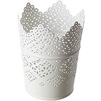Lote de 2-IKEA SKURAR-Palmatoria, color blanco-11 cm de Metal Dentellé-Maceta