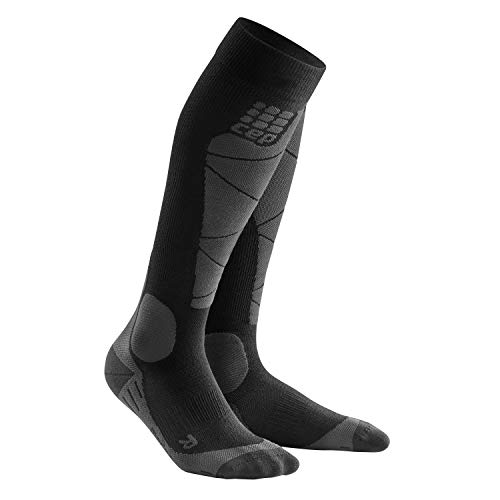 CEP – SKI Merino Socks, Skisocken in schwarz/grau, Größe IV für Herren, Kompressionsstrümpfe Made by medi