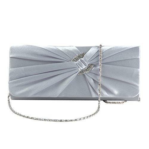 Damen Elegant Abendtasche Clutch Bag Falten Strass Satin Tasche Handtasche Brauttasche Strasse fuer Party Schwarz Silber