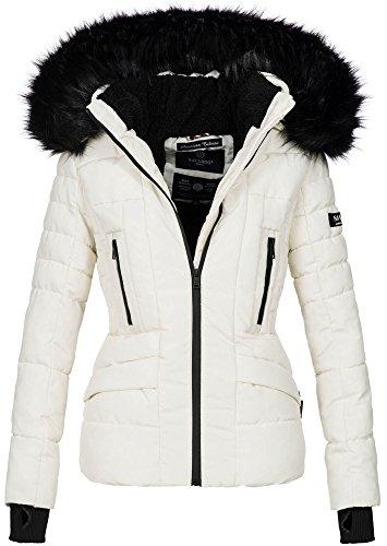 Navahoo Damen Winter Jacke warm gefüttert Teddyfell Stepp Winterjacke B361 [B361-Weiss-Gr.S]