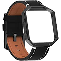SnowCinda Fur Fitbit Blaze Premium Leder Armband mit Metallrahmen, Ersatz Uhrenarmband fur Fitbit Blaze Smartwatch