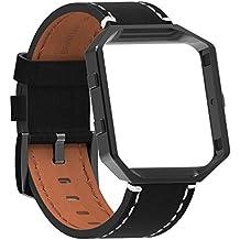 SnowCinda Fitbit Blaze Bracelet de Remplacement, Bracelet en Cuir avec Boucle et Cadre Metal en Acier Inoxydable Sport Fitness Accessoire