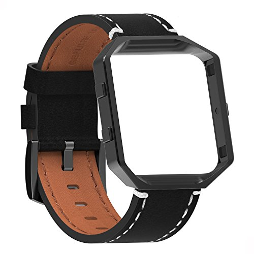 Fur Fitbit Blaze Premium Leder Armband mit Metallrahmen,SnowCinda Ersatz Uhrenarmband fur Fitbit Blaze Smartwatch (schwarz Armband+Schwarz Rahmen+Schwarz Schnalle, S) (Pflaume Leder)