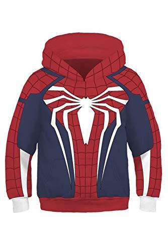 Kapuzenpullover Sweatshirt Hoodie Print Kapuzenpulli Hoodies Spinne Spider Man Rot Kinder Jungen ()