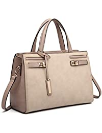 8a1176678f06 Miss Lulu Designer Women Top Handle Bag Pu Leather Charm Structure Shoulder  Bag Ladies Handbags with