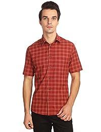 Reevolution Men's Self Design Red Cotton Shirt (MCHS310326)