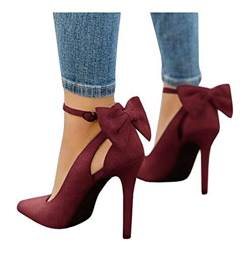 Damen Spitze High Heels Knöchelriemen D'Orsay Pumps Schuhe Bow Hochzeit Bowtie Dress Sandalen Bow High Heel Sandale