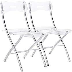 INSIDE Lot de 2 chaises Pliantes Widow en plexiglas Transparent
