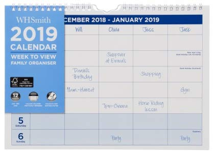 Whsmith commerciale Family organiser A42019settimanale