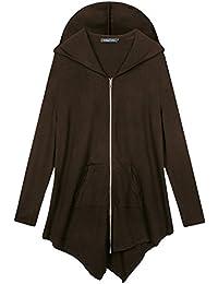 Urban GoCo Femme Sweat à capuche Manche Longue Pull Hoodie Casual Zipper Veste Sweatshirt Grande Taille