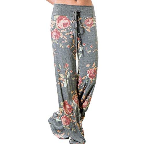 LAEMILIADamen Palazzo Blumen Lange Pumphose Sommer Schlafanzughose High Waist Breites Bein Locker Pluderhose