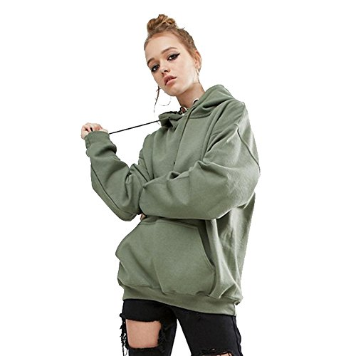 YuanYan Femme Sweat Shirt Pull Hoodie Lâche Top Cool Rock Fille Sweat à Caupouche Vert