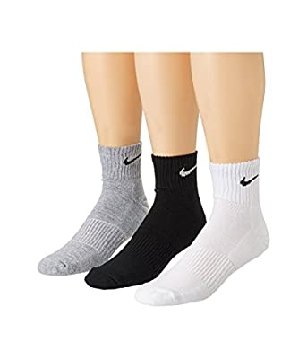 Nike Men's & Women's Cotton Fabrics & Polyamide Pack Of 3 Ankle Socks (Black, White And Grey,Free Size)