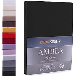 DecoKing 80x200-90x200 cm Sábana Bajera Ajustable 100% Algodón Jersey Negro Amber Collection