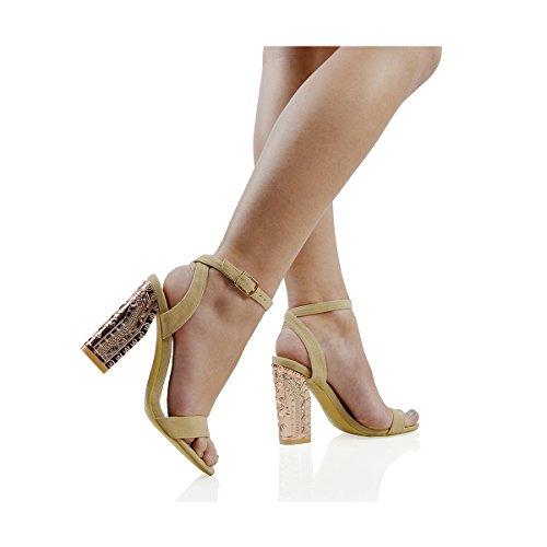ESSEX GLAM Scarpa Donna Finto Scamosciato Sandalo Peep Toe Cinturino alla Caviglia Tacco Tozzo Cromato Cinturino alla Caviglia Festa Carne Finto Scamosciato