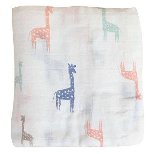 hibote Baby Kinder Bambus Faser Muslin Decke Neugeborenen Säuglings Bett Blatt Bad Handtuch Stillen Handtuch 120 * 120 / Giraffe (Bambus Bad Blatt)