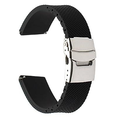 Para Samsung Gear S3 Classic / Frontier correa de reloj, TRUMiRR 22mm correa de reloj de goma genuina correa de resina de liberación rápida con corchete actualizado para Gear 2 Neo Live, Pebble Time, LG G Watch Urbane, Moto 360 2 46mm, Huawei Watch 2 (Cla