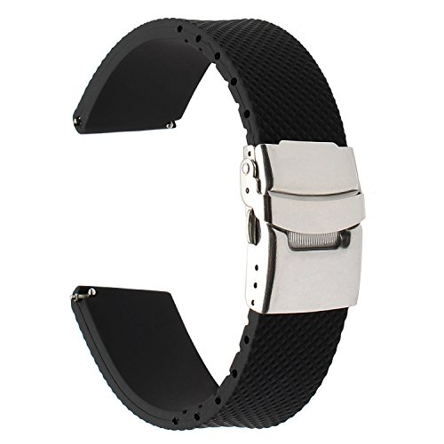 ür Huawei Watch GT/Samsung Gear S3 Classic/Frontier Armband, 22mm Echtes Gummi Uhrenarmband Resin Strap mit Upgraded Verschluss für LG G Watch Urbane,Galaxy Watch 46mm ()