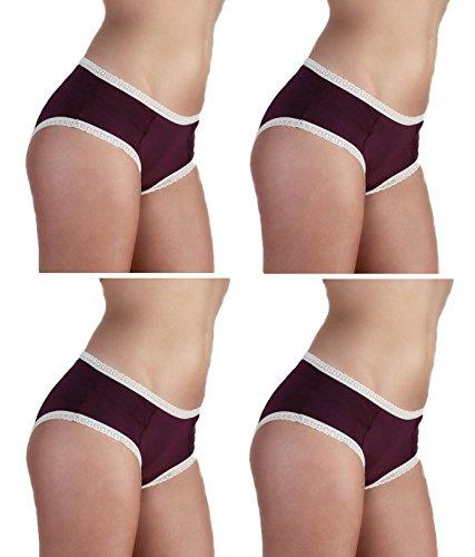 Damen Hipster Spitze Bio-Baumwolle GOTS 1-4-6 er Pack 6 Farben Hotpants Slip Panties Unterhosen aubergine / 4 er Pack