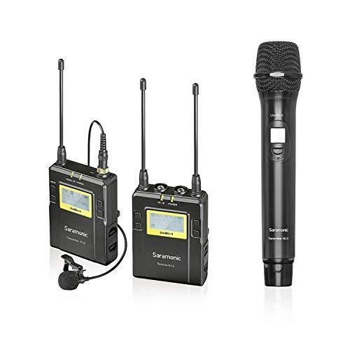 Saramonico UwMic9 Sistema microfono wireless Lavalier a 96 canali UHF per Canon Nikon Sony Fotocamera DSLR Panasonic, videocamera XLR e smartphone