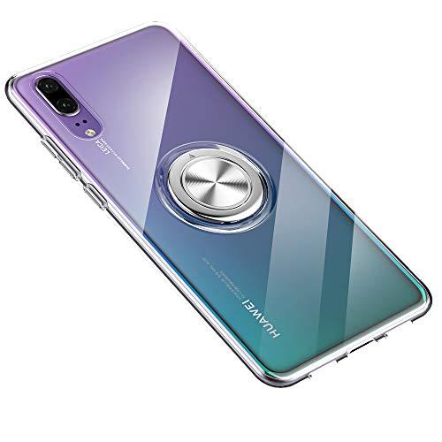 jemous Kompatibel mit Hülle Huawei P20, Huawei P20 Ultra Dünn Clear Hülle Überzug 360 ° Verdrehbare Ring+Stand Magnetic Autohalterung Tasche Hüllen Case für Huawei P20 (Klar, Huawei P20)