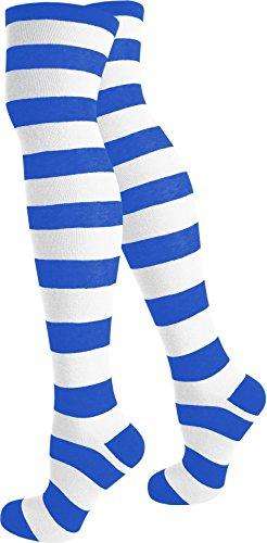 normani® Damen Overknees Über-Knie Strümpfe Geringelt in verschiedenen Farben Farbe ()