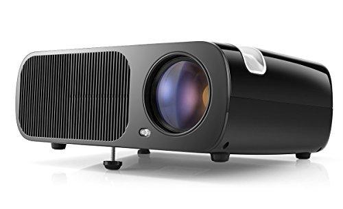 Pomarks Q2 Tragbarer Beamer HD Projektor 800 * 480 Auflosung Augenschutz mit VGA/USB/AV/HDMI/TV fur das Heim- Gartenkino oder die Konferenz, schwarz