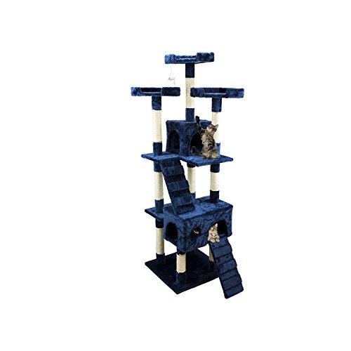 Tiragraffi da 170Cm con Cuccia per Gatti Albero Parco giochi gioco tira graffi per Gatto [Blu] - Wintem