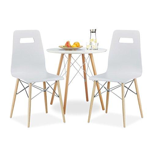 3 tlg. Esszimmer Set ARVID, 2 Esszimmerstühle, Küchentisch rund, Esstisch aus Holz, Sitzgruppe, Holztisch, Stuhl, weiß (Kleiner Weißer Küchentisch Set)