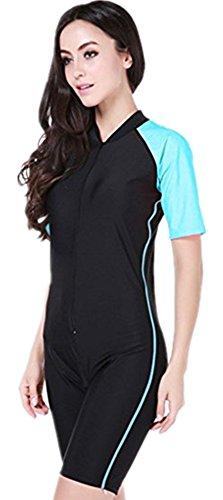 yeesam Mädchen- & Damen-Badeanzug mit halblangen Ärmeln und knielang, Surf-Anzug kurze Ärmel UPF 50+  Gr. Intl-S, blau