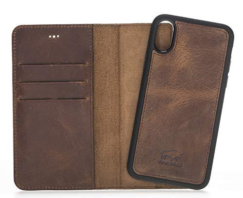 Solo Pelle Lederhülle Harvard kompatibel für das Apple iPhone X/XS inklusive abnehmbare Hülle mit integrierten Kartenfächern (Vintage Braun)