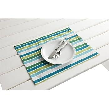 "4 Stück Outdoor TISCHSET ""Antibes blau-grün"" Placemat Gartentisch Tisch- Platzset abwaschbar 30cmx40cm"