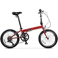Monociclos Bicicleta Plegable Bicicleta Unisex 20 Pulgadas Rueda Bicicleta Bicicleta de Velocidad Variable portátil (Color : Red, Size : 150 * 34 * 110cm)