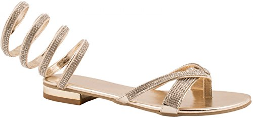 Elara Damen Sandalen | Elegante Dianetten Zehentrenner | Metallic Strass Größe 36, Farbe Gold