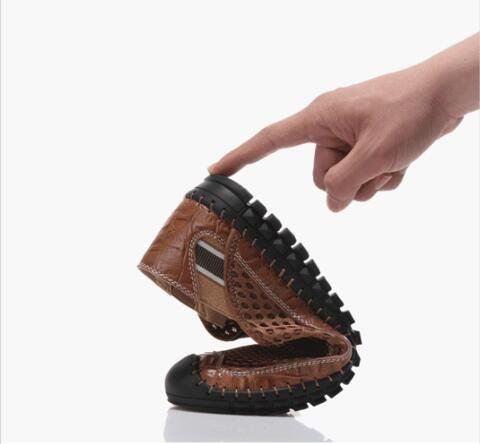 Mens-Mesh-Schuhe Sommer-Casual-Sandalen Leder und Mesh-Stoff langlebig und atmungsaktiv light brown