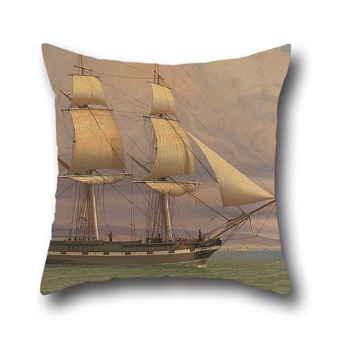 Oil Painting William Clark - The English Brig 'Norval' Before The Wind Pillowcase 18 X 18 Inches / 45 By 45 Cm Gift Or Decor For Divan,office,birthday,bf,christmas,boy Friend - Twin Sides