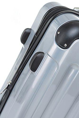 BEIBYE Zwillingsrollen 2048 Hartschale Trolley Koffer Reisekoffer in M-L-XL-Set in 14 Farben (Set, SILBER) - 5